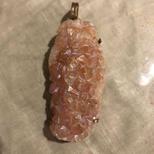 Pink aurora borealis druzy geo pendant necklace